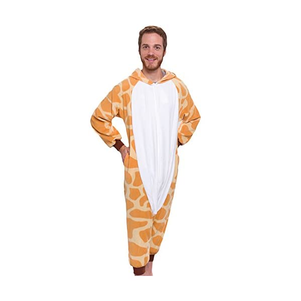 Silver Lilly Unisex Adult Pajamas – Plush One Piece Cosplay Giraffe Animal  Costume f8378d36d