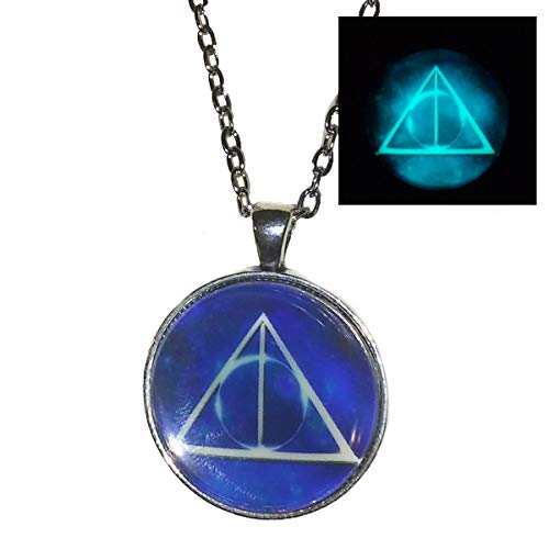 Harry Potter Deathly Hallows symbol - GLOW in the Dark - pendant necklace - HM ()