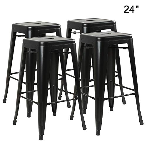 BOSSIN 24 in Modern Metal Stool Backless Industrial Counter Height Bar Stools,Indoor-Outdoor,Stackable,Set of 4, Matte Black Finish ()