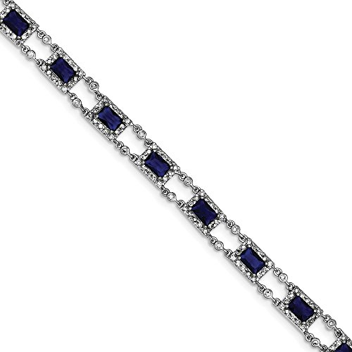 Sterling Silver Rhodium Plated Blue and Clear CZ Bracelet by CoutureJewelers