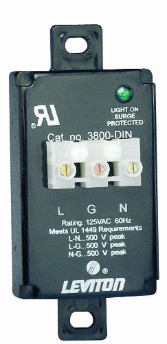 Leviton 3800-DIN 120 Volt AC, 2P, 3 Wire, Equipment Cabinet SPD Surge Protective Device, Wired-In Module