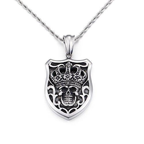 BlueFox Fashion Crescent Crown Skull Pendant Titanium steel sterling Black silver Chain Necklace