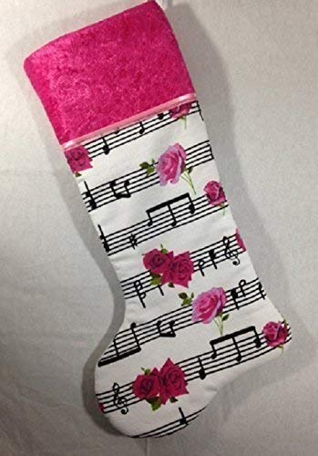 (Roses & Notes Christmas Stocking. Fully lined, quilted layer. Hot pink collar, light pink ribbon trim. Can be personalized.)