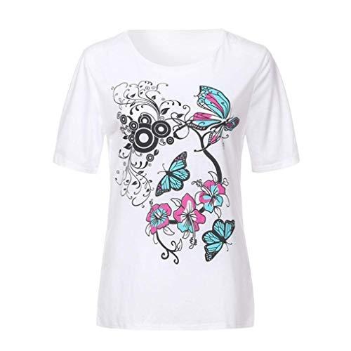 Courtes Slim Papillon Chic Pullover Et Col Modle Impression Blanc Tshirt Top T Femme Elgante Fleurs Branch Manches Shirt Shirt Mode Fit Rond Casual w6qxzI