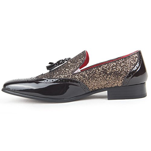 Rossellini Mens Patent Shiny Shimmer Tassel Loafers, Leather Lined Brogues Wedding Shoes Fancy Dress Party Shoes. Black White Silver Red. Bronze