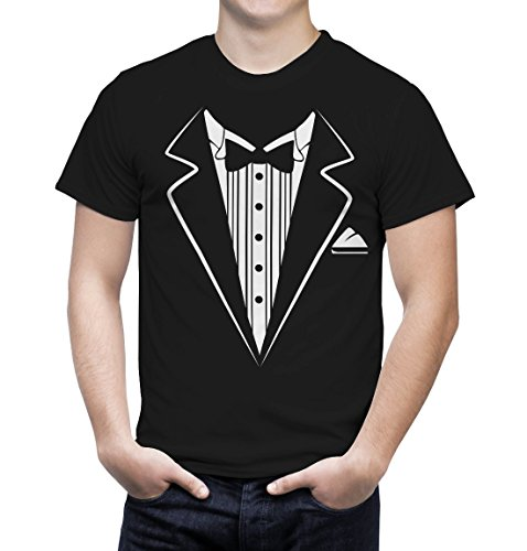 Funny Tee Shirts Tuxedo Costume Humorous T Shirts for Men Funny Sarcasm (2XL, Black)