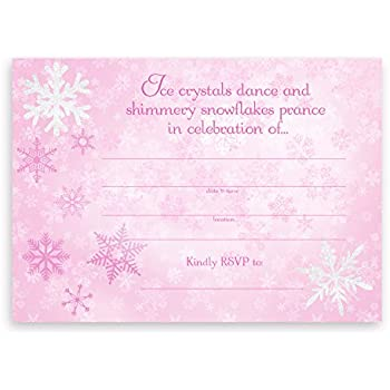amazon com winter snowflake birthday party invitations set of 10 5
