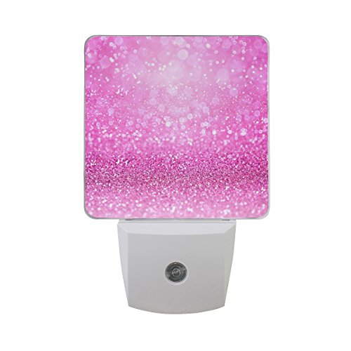Naanle Set of 2 Sparkling Pink Glitter Girly Confetti Girl Princess Theme Design Auto Sensor LED Dusk to Dawn Night Light Plug in Indoor for - Princess Glitter Pink