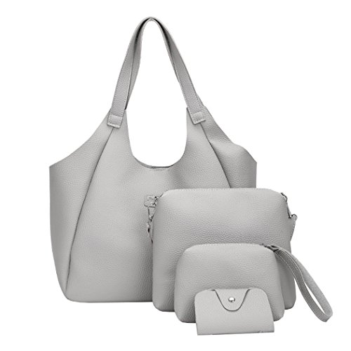 Large Crossbody Bags Grey Shoulder Tassel FUNOC 4Pcs Wallet Set Girls Handbag Card Bag Women Bags Fashion Ya5xnHT