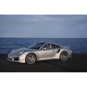 Porsche 911 (991) Turbo S (2013) Car Art Poster Print on 10 mil Archival Satin Paper Silver Side Ocean View 36