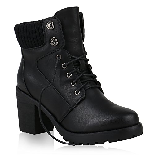 Gefütterte Stiefeletten Damen Schnürstiefeletten Plateau-Boots Profilsohle Leder-Optik Booties Damenschuhe Winter Flandell Schwarz Strick