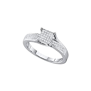 Sterling Silver Womens Round Diamond Elevated Square Cluster Bridal Wedding Engagement Ring 1/6 Cttw