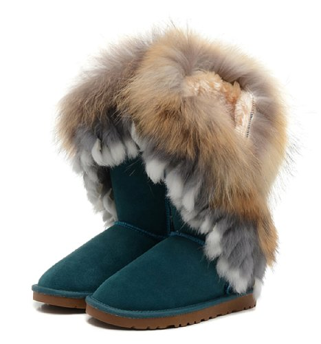 265b5396996 Women's Indian Style Fox Fur Tall Boots - W10, Peacock Green - Buy ...