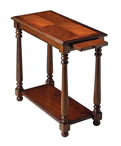 Offex Accent Solid Woods Chairside Table - Dark Brown (Burl Ash Desk)