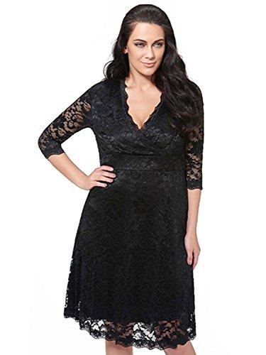 20s Attire (Sisjuly Women's V-Neck Half Sleeve Plain Lace Plus Size Party Dress XL Black)
