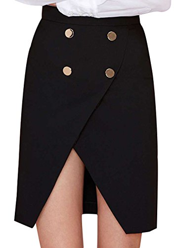 HDY Women's Fashion Slit Slim Fit Bodycon Middle Business Skirt M Black