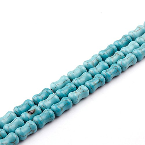 JARTC Natural Green Turquoise Bone shaped beads Loose for Jewelry Making (Jewelry Bone Bead Necklace)