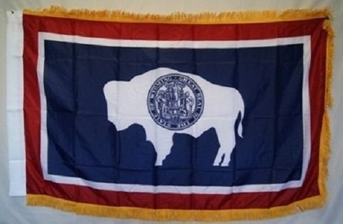 3X5 Wyoming State Poly Nylon Sleeve With Gold Fringe Flag 3'X5' Banner