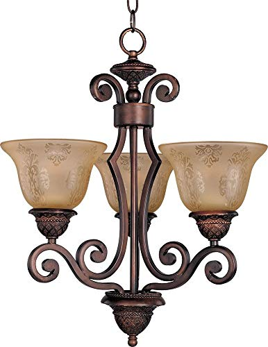 Maxim 11235SAOI Symphony 3-Light Chandelier Single-Tier Chandelier, Oil Rubbed Bronze Finish, Screen Amber Glass, MB Incandescent Incandescent Bulb , 60W Max., Dry Safety Rating, Standard Dimmable, Metal Shade Material, Rated - Single Traditional Tier Chandelier