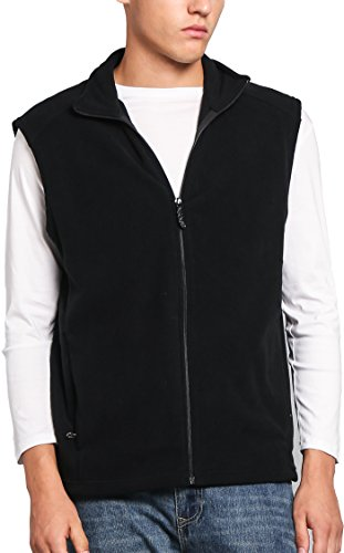 Oalka Men's Full Zip Soft Sport Fleece Vests Black (Black Fleece Vest)