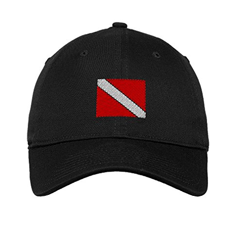 Speedy Pros Sport Scuba Diving Flag Embroidered Unisex Adult Flat Solid Buckle Cotton Unstructured Hat Low Profile Cap - Black, One Size