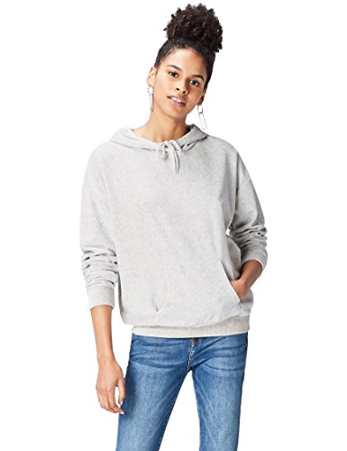 find. Women's Hoodie in Velour with Kangaroo Pouch Sweater,  -Grey (Light Grey Marl), L (US 10)
