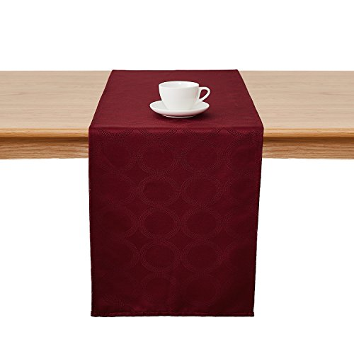 Deconovo Jacquard Damask Table Runner Wrinkle and Water Resistant Spill-Proof Decorative Dining and Wedding Runners with Round Patterns 14 x 72 inch Burgundy by Deconovo