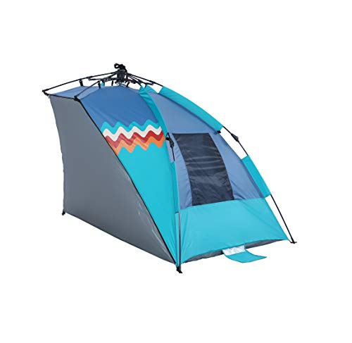 ALPHA CAMP Hang Ten Cooperation Style Beach Tent Easy Instant Sun Shelter-Extended Zippered Porch Included