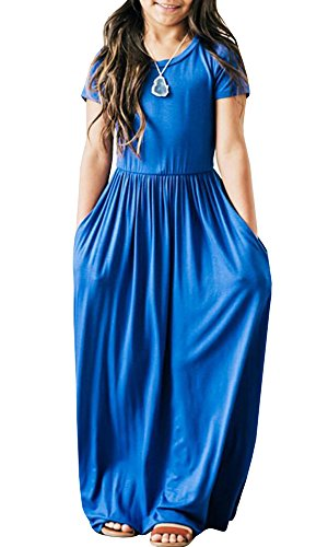 Syktkmx Cute Baby Girls Hit Color Long Dress Children Casual Beachwear Dress (9-10 Years, Blue)