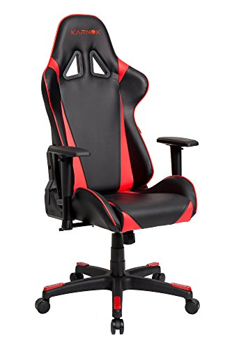 41vaf4swoJL - KARNOX Hero X Red Swivel Leather Gaming Chair Ergonomic Racing Style With Lumbar Support and Headrest High-back Executive Office Chair