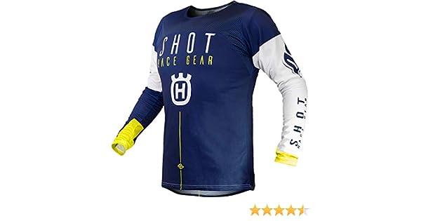 Color Azul ne/ón y Amarillo Camiseta de Cross para Hombre SHOT Aerolite Husqvarna