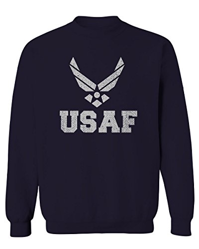Vintage USAF United States Air Force Logo Seal USA American America Men's Crewneck Sweatshirt (Navy, Small)