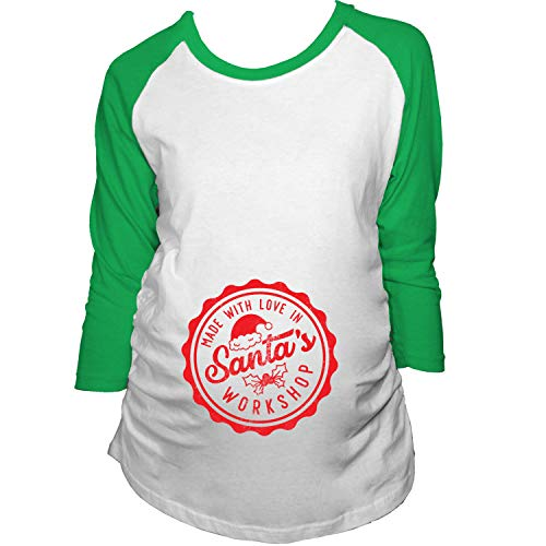 (Maternity Raglan Made with Love in Santas Workshop Pregnancy Shirt Cute Christmas Tee (Green) - XL)