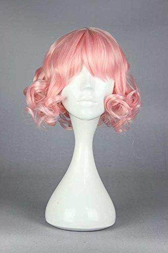 springcos Women Harajuku Lolita Wig Short Curly Hair Wigs with Bang Pink (Short Pink Wig)