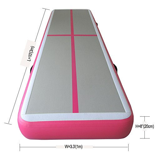Ibigbean Air floor Inflatable Home Gymnastic Mat for tumbling, training, Cheerleading ,on water(10'H x 3.3'W x 8''H)