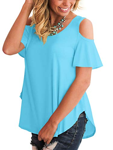 Spring T Shirts Women Stylish Tunic Tops Cold Shoulder Chic Sides Split Lake Blue M