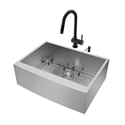 VIGO 30 inch Farmhouse Apron Single Bowl 16 Gauge Stainless Steel Kitchen Sink with Gramercy Matte Black Faucet, Grid, Strainer and Soap Dispenser