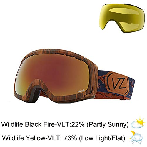 VonZipper Feenom NLS Adult Snowmobile Goggles - Walnut Satin/Wild Black Fire Chrome/One Size