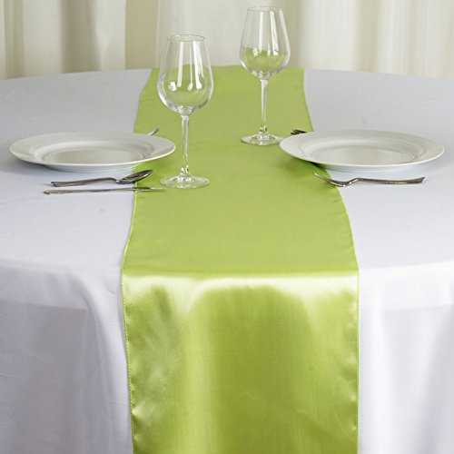 BalsaCircle 10 pcs 12 x 108 inch Apple Green Satin Table Runners Wedding Table Top Party Supplies Reception Linens Decorations