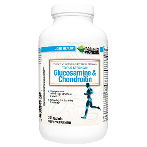 Nature's Wonder Glucosamine Chondroitin Triple Strength with MSM Tablets, 240 Count, Compare vs. Osteo Bi-Flex® Triple Strength Chondroitin 240 Tabs