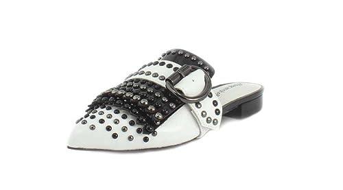 Jeffrey CampbellDANIEL - Mocasines con Tachuelas Daniel para Mujer, Blanco (Combo Negro), 6 B(M) US: Amazon.es: Zapatos y complementos