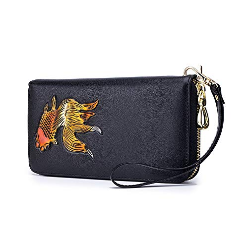 Individual Creative Wallet Lady'S Long Leather Fashion Hand-Painted Card Bag Yellow Carp Wallets