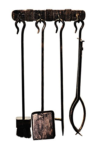 Fireplace Tools Set (4 parts), Wrought steel, Wall mounted, Vintage finishing, Tool length 60 cm