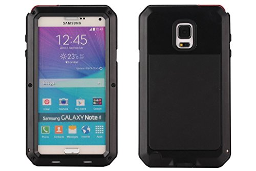 Galaxy Note 4 Case, Tomplus Extreme Hard Military Heavy Aluminum Metal Armor Tank Gorilla Glass Shockproof Rainproof Resistant Protection Cover Case For Samsung Galaxy Note 4 N9100 (T-black)
