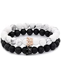 8mm Natural Stone CZ Micro Pave Crown King Queen Beads His and Hers Couple Bracelet, 7.5""