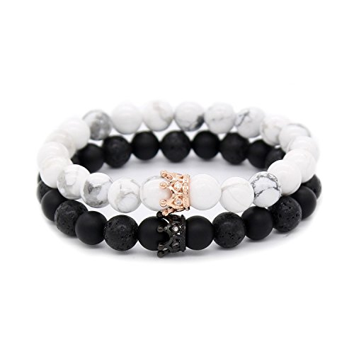 "POSHFEEL Couple Black Matte Agate & White Howlite CZ Crown Queen 8mm Beads Bracelet, 7.5"" Black&White"