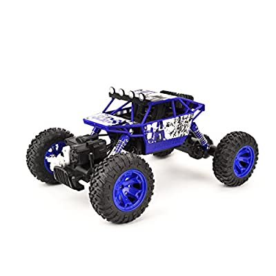 Coolmade RC Car Conqueror Electric RC Truck Rock Crawler 2.4Ghz 4 Wheel Drive 1:18 Racing Cars Climber Trucks Toy for Kids 4WD Extreme Crawler Off-Road RC Vehicle (2 Battery inside) - Blue