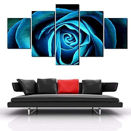 5 Piezas/Set Blue Rose Decoración Moderna de la Pared del ...