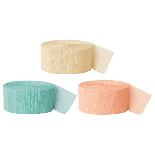Andaz Press Crepe Paper Streamer Hanging Party Decorations Kit, 240-Feet, Ivory, Diamond Blue Mint Green, Peach, 1-Pack, 3-Rolls, Colored Wedding Baby Bridal Shower Birthday Supplies