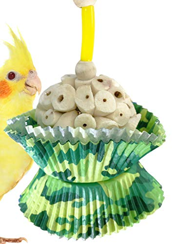 Bonka Bird Toys 1925C Camo Cup Cake Toy Foraging Parrot cage Cockatiel African -